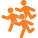 Afbeelding van hardlopers. Loop als runner individueel of in een team mee met de 10 of 5 kilometer van Run for KiKa